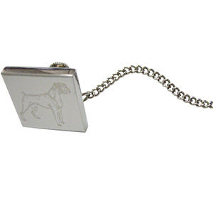 Silver Toned Etched Boxer Dog Tie Tack